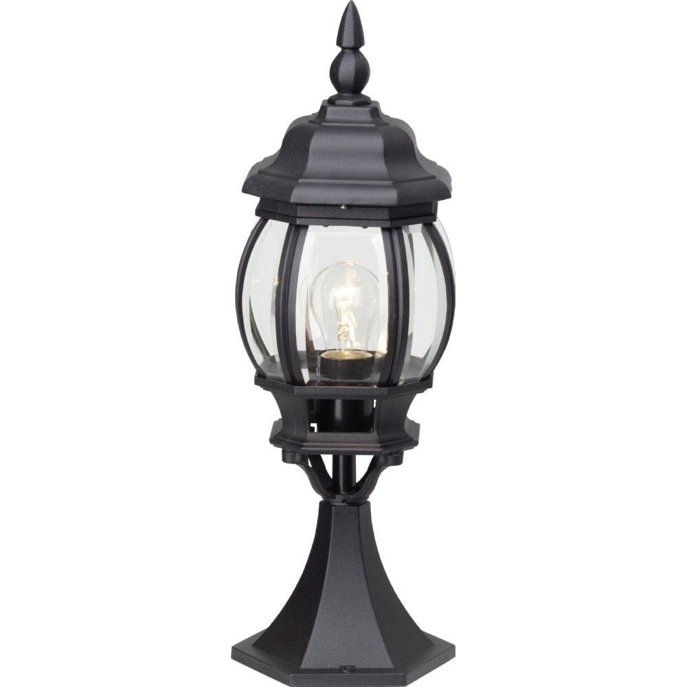Lampa zewnętrzna stojąca retro Istria Czarna Brilliant przed dom i podjazd.
