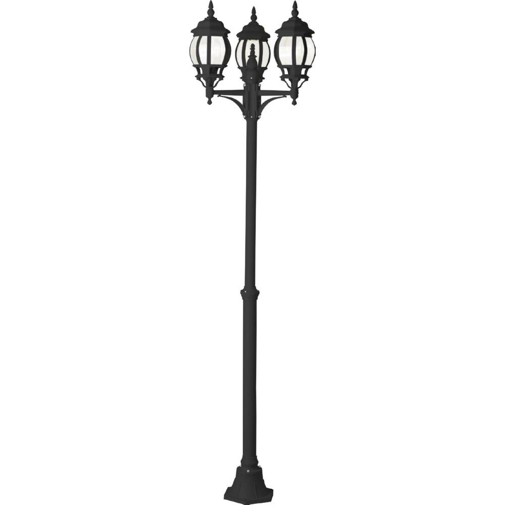 Lampa zewnętrzna stojąca retro Istria III Czarna Brilliant przed dom i podjazd.