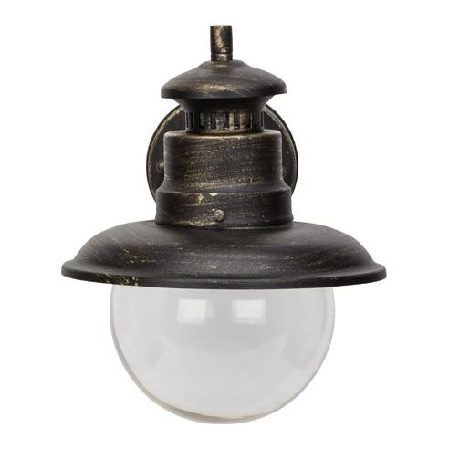 Kinkiet zewnętrzny latarnia Artu 21 Czarny/Złoty Brilliant na taras, elewacje i nad drzwi.
