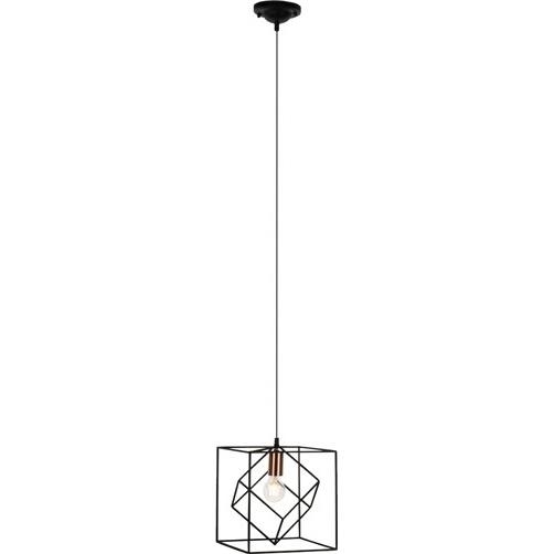 Industrialna Lampa wisząca druciana kwadratowa Tycho 25 Czarno-Miedziana Brilliant do sypialni, salonu i kuchni.