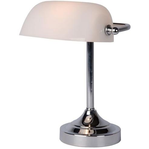 Stylizowana Lampa biurkowa bankierska Banker Biała Lucide do hotelu i restauracji.