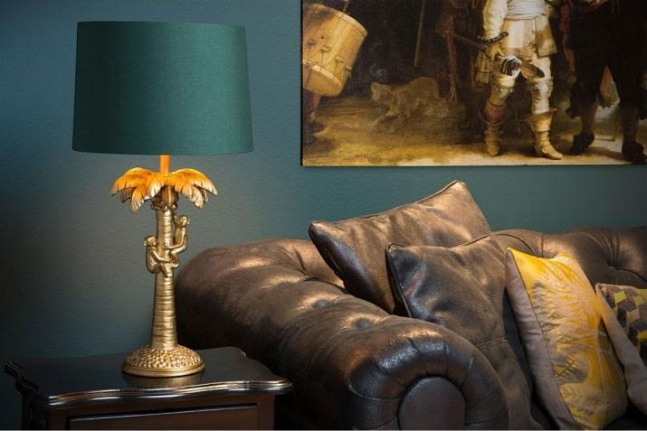 Zielona lampa stołowa z dekoracyjną podstawą Coconut