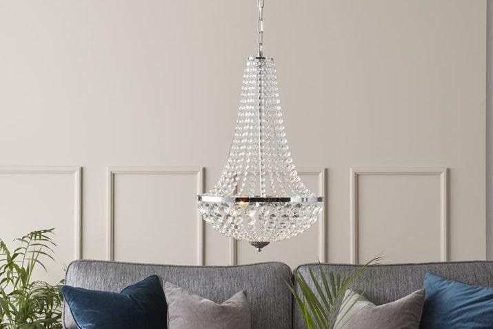 Żyrandol wiszący z kryształkami Granso w stylu glamour